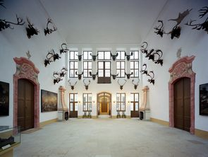 The Stone Hall with Hunting trophies at Moritzburg Castle